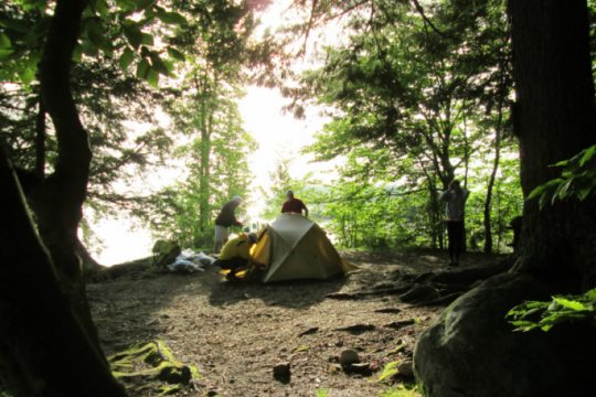 A campsite on one of the Indian Lake islands.