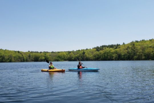 Kayakers enjoy a paddle on a bright day at Grafton Lakes State Park in Rensselaer County.