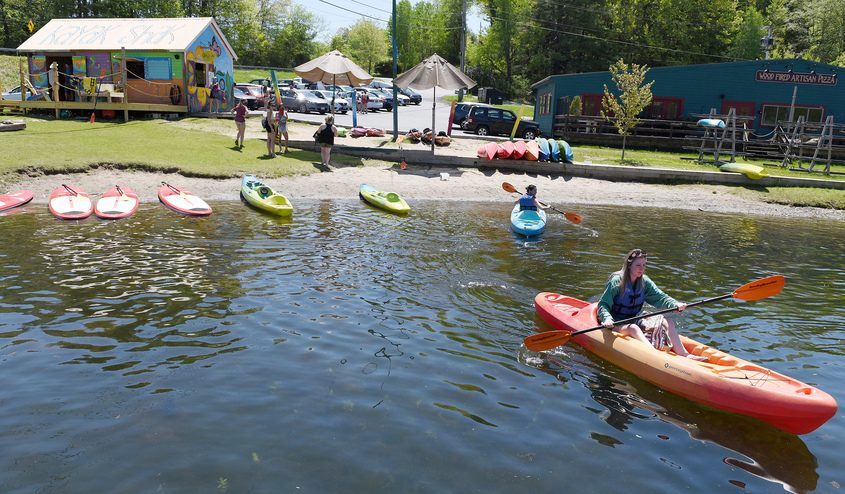 Kayakers head out to Fish Creek with their rented kayaks on Saratoga Lake at Kayak Shak in Saratoga Springs last year.