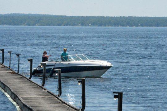 Folks pull into the docks at Lanzi's On The Lake at the Great Sacandaga Lake.