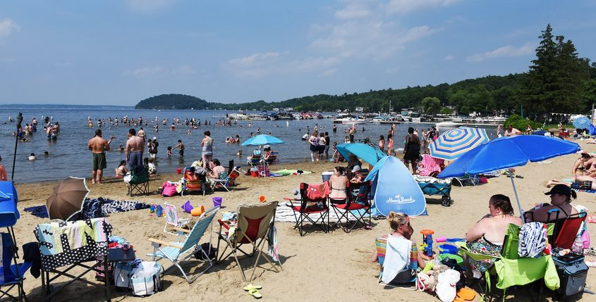 People enjoy the cool waters of Brown's Beach on Saratoga Lake in 2018.