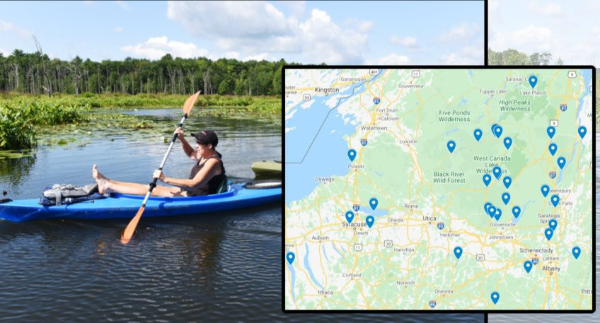 Left: Kayaking on Round Lake in 2019. Inset: A map of all the lakes in our special section.