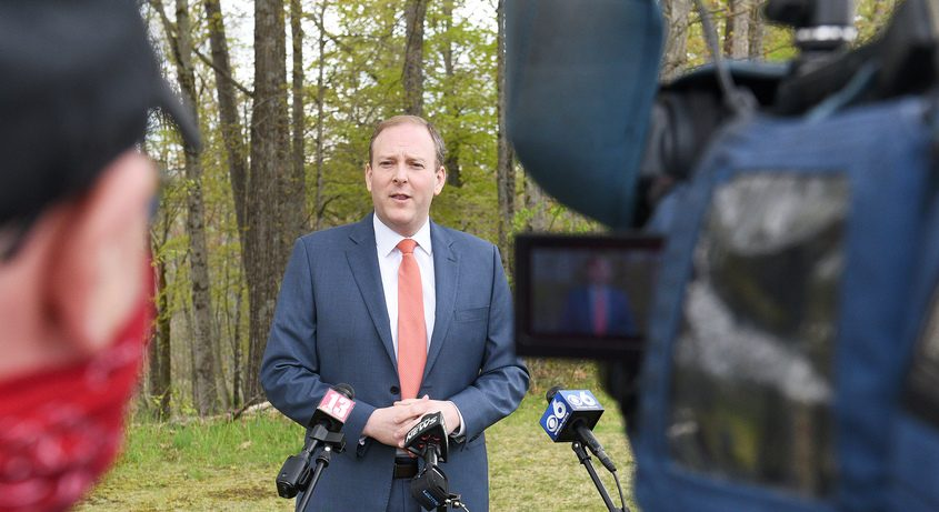 US Rep. Lee Zeldin answers questions from media in Saratoga SpringsMay 10