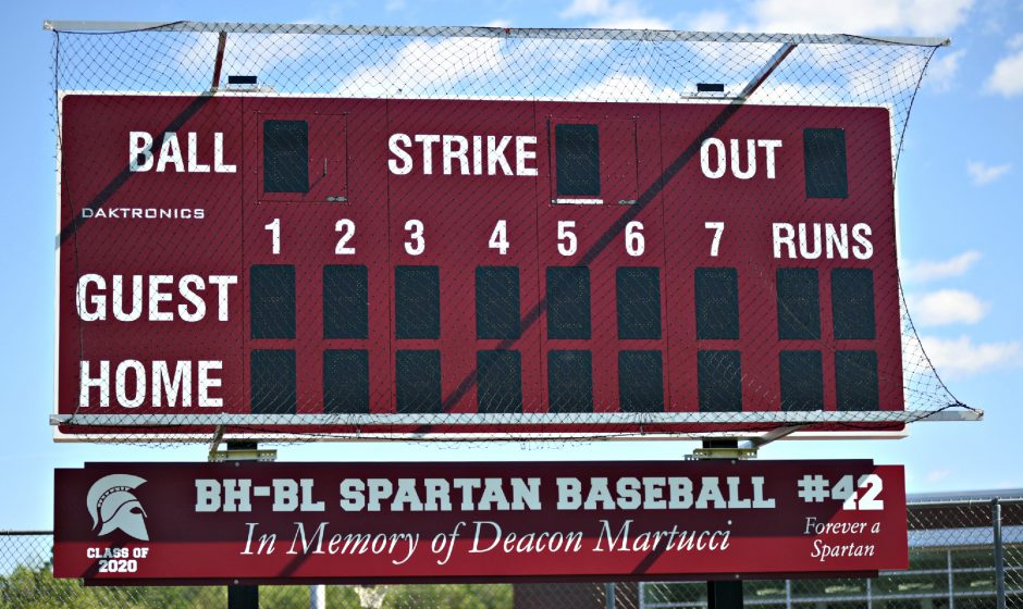 The newly installed baseball scoreboard in left field at Burnt Hills-Ballston Lake High School will be dedicated to the memory of Deacon Martucci, a Spartan student-athletewho died in an auto accident in 2017.