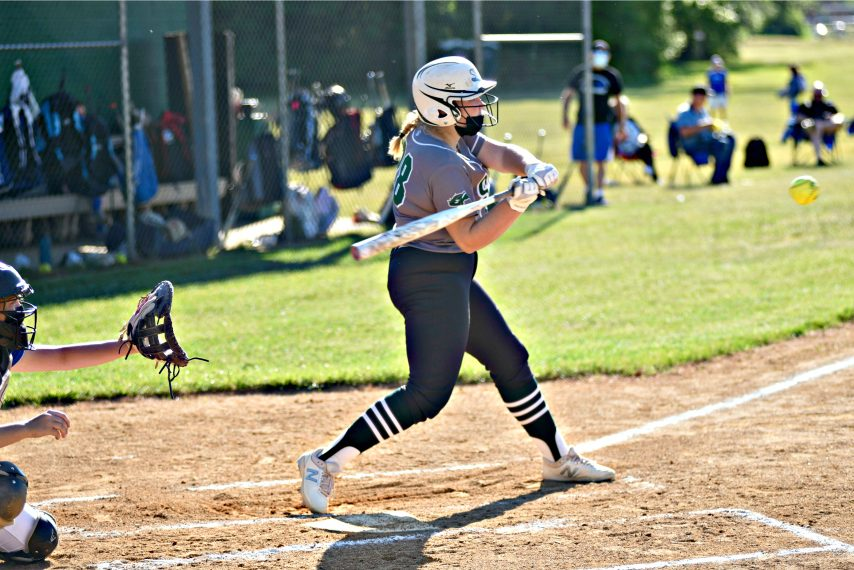 (STAN HUDY/THE DAILY GAZETTE)Shenendehowa slugger Becca Zawistowski turns on a Shaker pitch, connecting on a first-inning home run, her fifth of the season during a non-league contest at Shenendehowa High School.