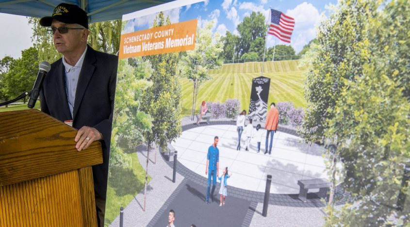William Frank speaks at the groundbreakingfor theVietnam Veterans Memorial Park on the grounds of SUNY Schenectady on Friday.
