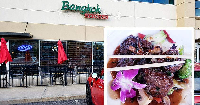 Bangkok Kitchen on the Troy-Schenectady Road in Latham. Inset:Theirmarinated and grilled lamb chops. (Beverly M. Elander)