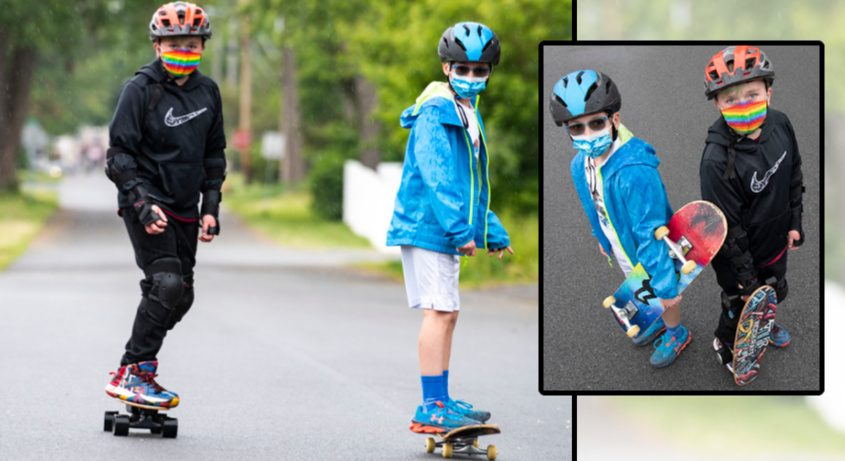Oliver Talbot, 11, left, and Sheila Marino, 10,ride their skateboards near Lincoln Elementary School in Scotia Friday.