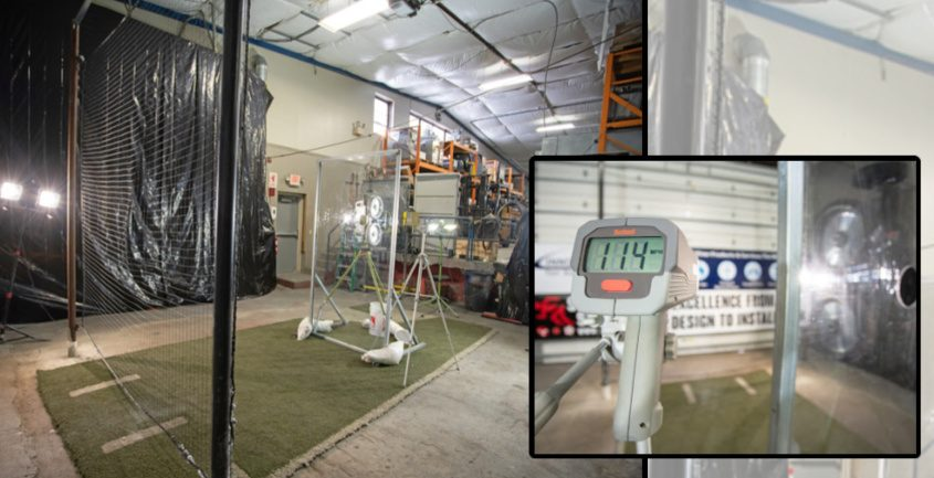 A pitching machine fires a 114-mph fastball at a baseball safety net during testing at Innovative Test Solutions in Schenectady earlier this year.