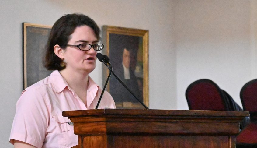 Daily Gazette opinion writer Sara Foss speaks in Memorial Chapel on the campus of Union College on April 9, 2019.