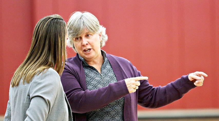 Mary Ellen Burt, right, retired last week from her job as Union women's basketball coach. (Photo courtesy Union Athletics)