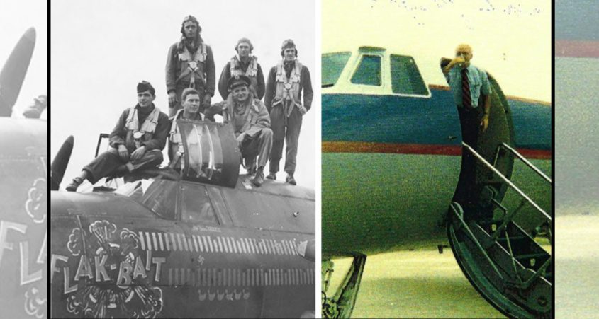 """Left:During World War II, then-Lieutenant James """"Boss"""" Farrell, squatting at right, was the aircraft commander of a twin engine B-26 Marauder bomber. He nicknamed his aircraft """"Flak Bait.""""Right:Capt. James J. Farrell is seen sipping champagne after landing the 14-passenger GE Gulfstream II for the final time on his retirement in the mid-1980s."""