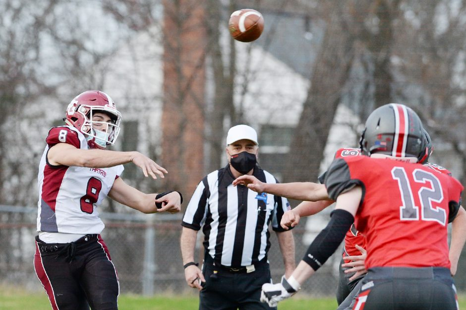 An official looks on as Scotia-Glenville plays Niskayuna on April 9 in a high school football game.
