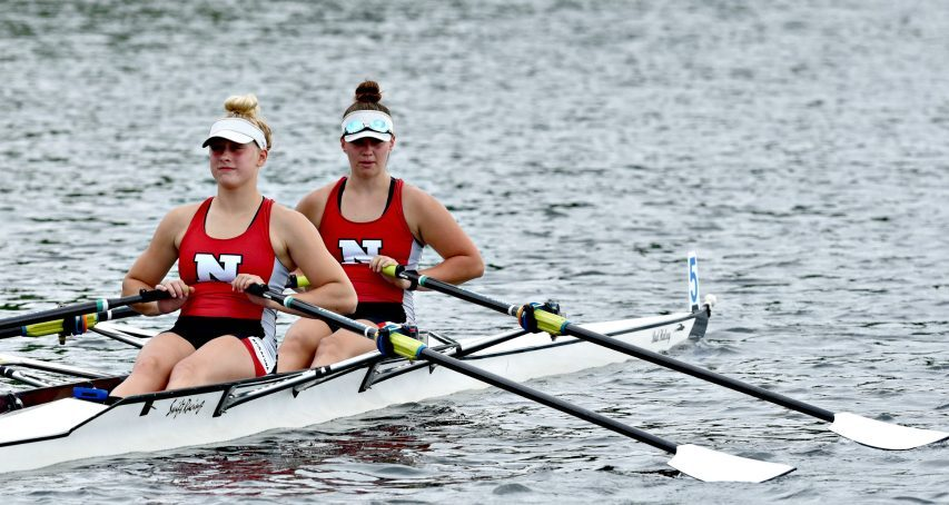 The Niskayuna Rowing girls' double of Heather Schmidt, front, and Jordan Zenner row toward the start line of the New York State Invitational on Fish Creek at Saratoga Lakeon May 22.