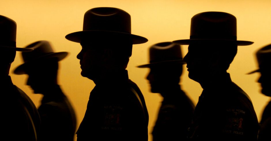 A silhouette of some of the 92 graduating New York State Police officers in 2008.