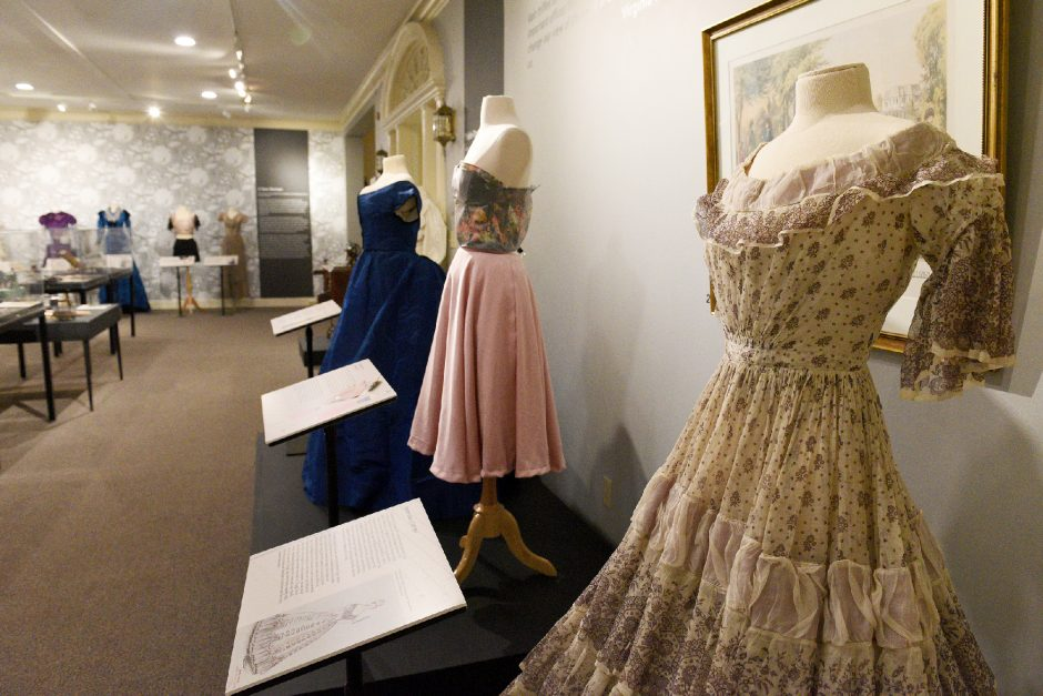 """A view of the exhibit """"Redesigning Fashion: Transgression&Identity in Women's Historic Dress,"""" by SUNY Oneonta studentsin collaboration withthehost Schenectady County Historical Society."""