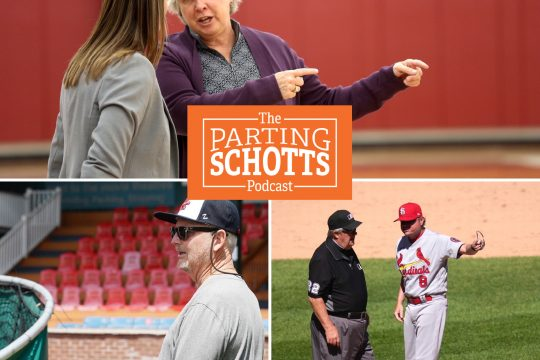 Mary Ellen Burt reflects on her 26 years as the Union College women's basketball coach; Amsterdam Mohawks coach Keith Griffin, left, prepares for the Perfect Game Collegiate Baseball season and Ken Rosenthal talks MLB on the latest 'The Parting Schotts Podcast.' (Photo credits clockwise: Union Athletics, The Associated Press, Erica Miller)