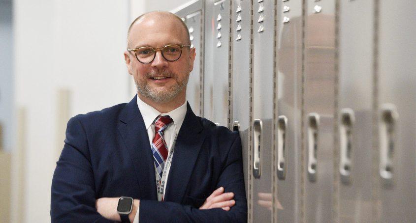 Schenectady City Schools Acting Superintendent Arron Bochniakis picturedat Mont Pleasant Middle SchoolonApril 3, 2020.