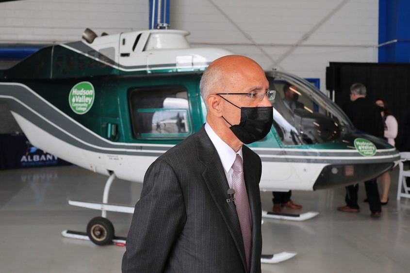 JOHN CROPLEY/THE DAILY GAZETTEAlbany County Airport Authority CEO Philip Calderone speaks to a reporter on Thursday in the hangar that will house a new aviation maintenance technician school.