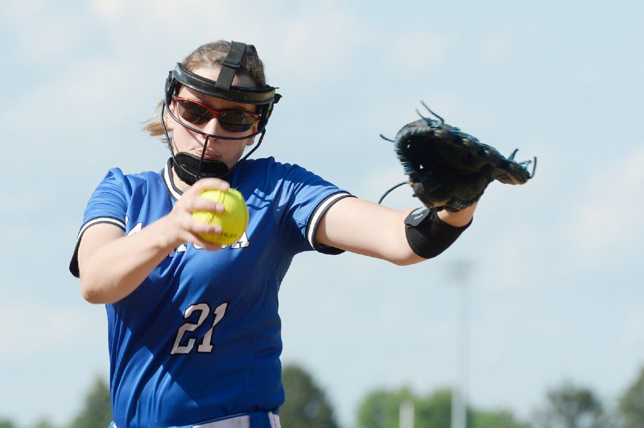 Saratoga Springs pitcher Bella LaBate warms up before the first inning of Friday's Suburban Council softball game against Troy at Saratoga Springs High School.
