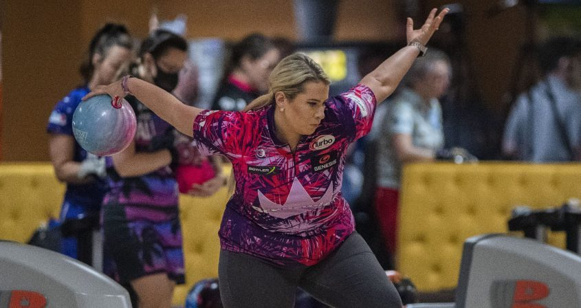 Liz Kuhlkin of Rotterdam rolls her bowling ball during Saturday's PWBA Albany Open at Kingpin's Alley Family Fun Center in South Glens Falls.