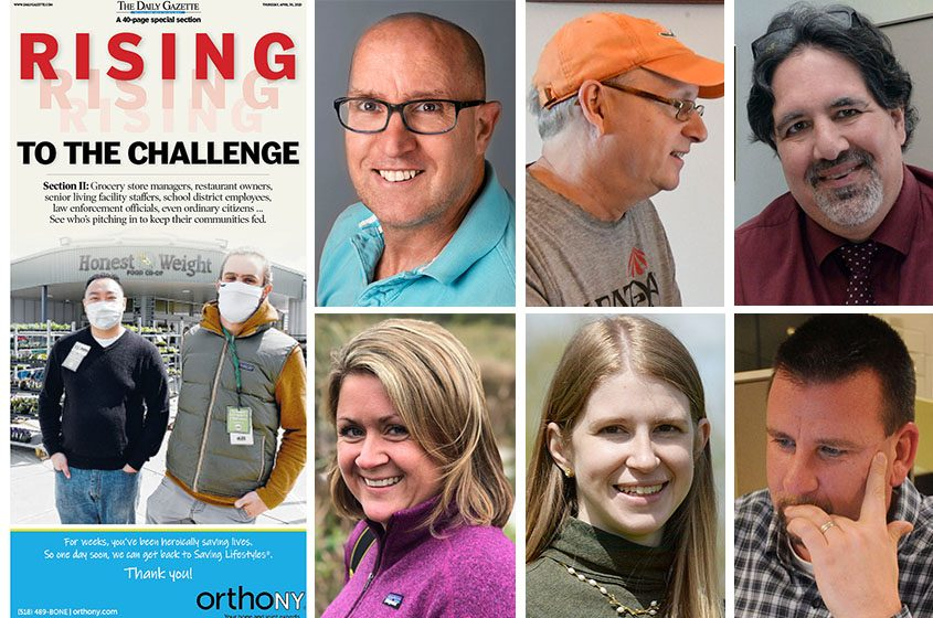 """The Daily Gazette's""""Rising to the Challenge"""" sectionis pictured along with staffers, top row from left, Peter Barber, Mike MacAdam and Mark Mahoney, and bottom row from left, Erica Miller, Indiana Nash and John Thorpe."""
