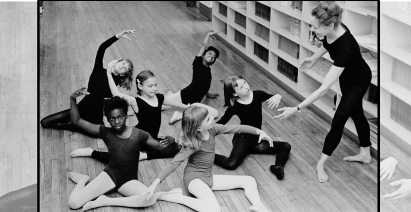 Page Schmitt, right, teaches ballet at Horace Mann School in June 1966. Young dancers are, from left to right in the front row, Lena Dukes, Linda Mastro and Colleen Parks. From left to right in the back row are Brenda Taylor, Margaret Clemovich and Desiree Mason.