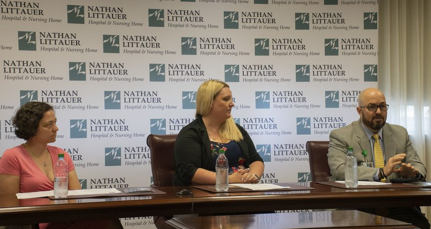From left, nurse practitioner Janis Freeman, physician assistant Nicole Higgins and President and CEO Sean Fadale discuss The COVID Recovery Program at Nathan Littauer Hospital in Gloversville on Monday, June 7, 2021.