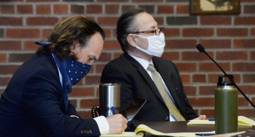 Georgios Kakavelos, right, is seated next to his attorney, Kevin K. O'Brien, before the jury arrives for opening statements in his murder trial in Saratoga County Court on Wednesday.