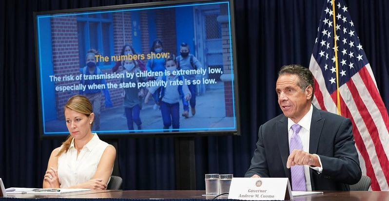 Gov. Andrew Cuomo speaks at a news conference Monday