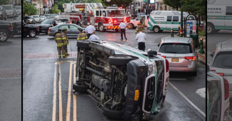 The Mohawk Ambulance on its side Tuesday afternoon