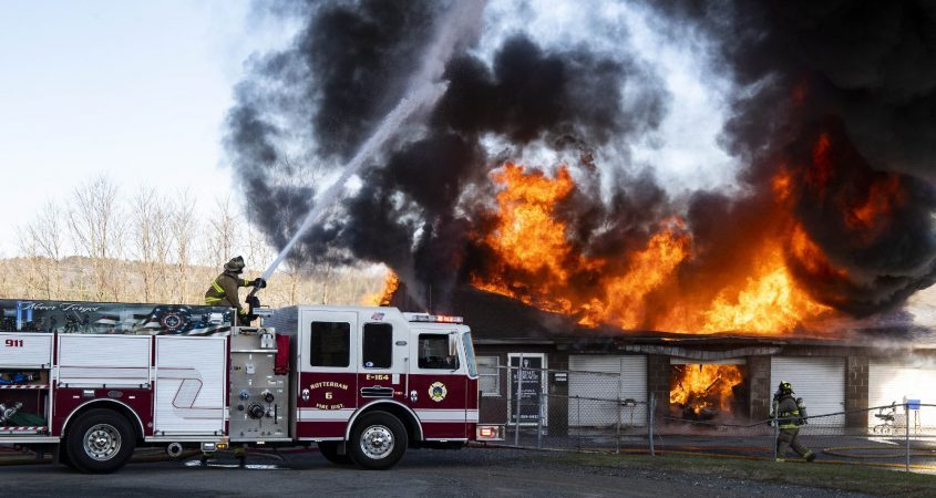 Flames engulf the Prime Storage Complex at 103 Old Mill Lane in Rotterdam on April 6.