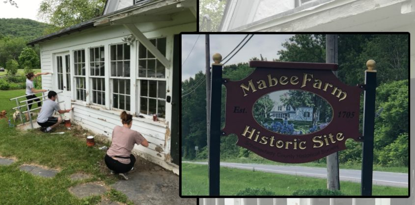 Executive director Mary Zawacki, education director Mike Diana and curator Susanna Fout give the 1705 Mabee House in Rotterdam Junction another coat of white paint.