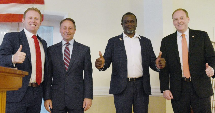 Gubernatorial Republican governor candidates (L-R) Andrew Giuliani, Rob Astorino, Derrick Gibson and Congressman Lee Zeldin before kicking off the Fulton County Republican speeches at the Perthshire in Perth on Wednesday, June 9, 2021.