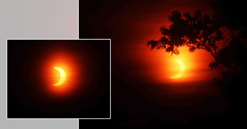 The eclipse as it appeared at 5:43 a.m. from the Landis Arboretum, right, and at 5:48 a.m.