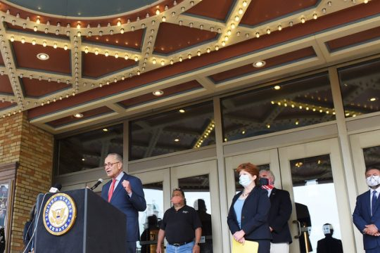 U.S. Sen. Chuck Schumer speaks outside the Palace Theatre in Albanyon Sept.8.