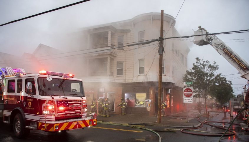 Schenectady firefighters battle a 2-alarm fire at 1159 Crane Street in Mont Pleasant during the early morning hours of Saturday, June 12, 2021.
