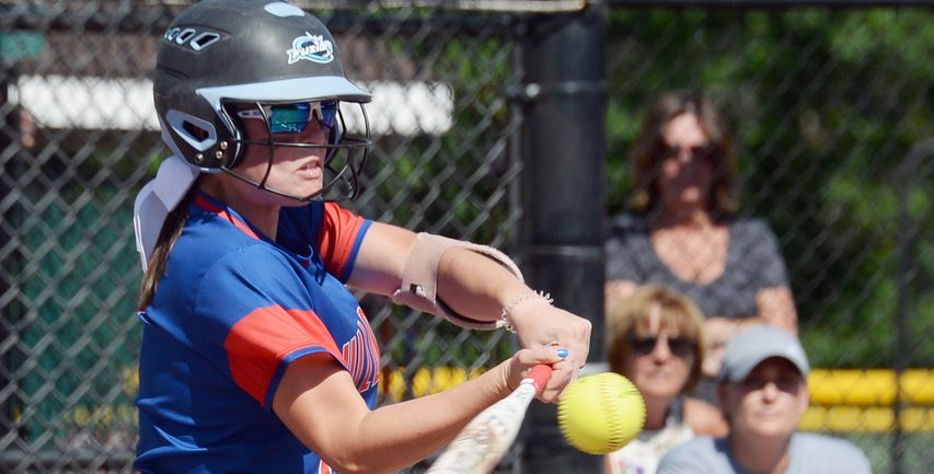 Deme Kellogg of South Glens Falls takes a cut during Saturday's Section II Class A softball championship game with Amsterdam at Moreau Recreational Park in Moreau.