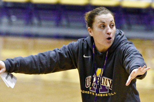 Colleen Mullen is shown during a 2019-20 UAlbany women's basketball practice.