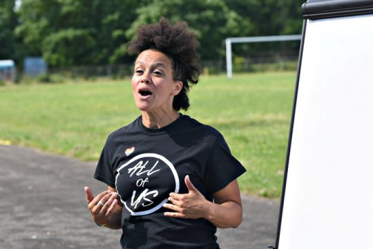 Newly elected Schenectady City School board of education member Jamaica Miles speaks to a group of gathered parents at the Mont Pleasant Middle School track, as well as parents on Zoom Sunday.