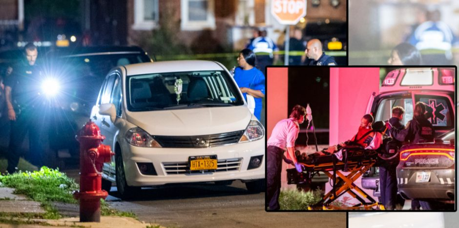 Police search Kenwood Avenue, left; Paramedics transport the victim, right