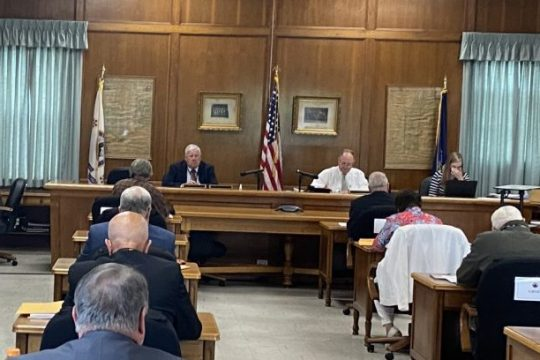 The Fulton County Board of Supervisors, with their desks arranged school house style to facilitate social distancing, conducted their monthly meeting Monday in their city of Johnstown chambers.