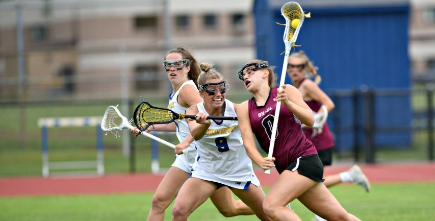 Queensbury's Molly Gannon defends Burnt Hills-Ballston Lake's Mary Katherine Lescault during the first half of Monday's Section II Class B title contest at Queensbury High School. June 14, 2021.