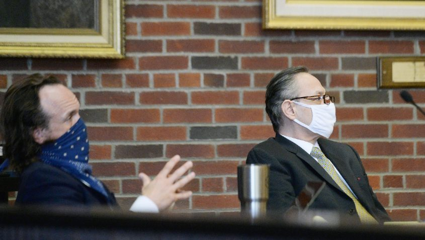 Georgios Kakavelos, right, sits beside his attorney, Kevin K. O'Brien, before opening statementsin his murder trial in Ballston Spa on May 12.