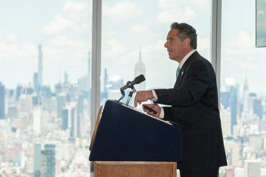 Gov. Andrew Cuomo announces the end on many precautionary COVID-related restrictions Tuesday at One World Trade Center in Manhattan.