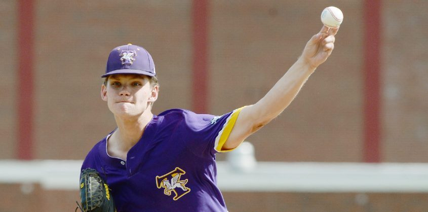 Troy pitcher Mike Kennedy warms up during Tuesday's Section II Class A baseball championship game against Burnt Hills-Ballston Lake at Burnt Hills.