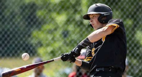 Jack Montanye of Canajoharie connects for a single against Lake George Wednesday in the Section II Class C championship baseball game at Canajoharie High School.