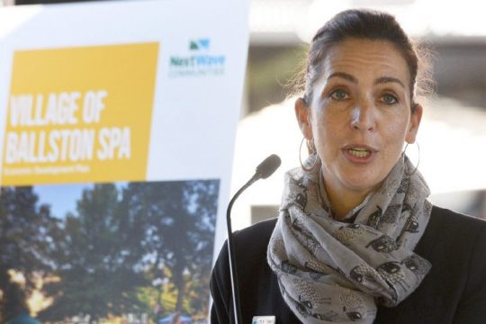 Saratoga County Prosperity Partnership President and CEO Shelby Schneider speaks at Wiswall Park in Ballston Spa on Oct. 14, 2020.