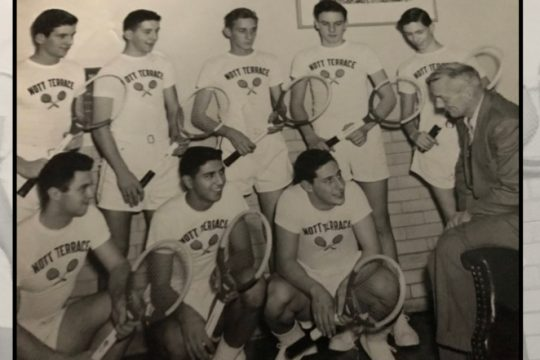 The Nott Terrace High boys tennis team of 1951 is pictured with coach Sam Thompson before a match that year. Front row from left are Ettore Mancuso, Jack Boyajian and Joe Guerra. Back row from left are Howie Hubbard, Lou Gwinner, Justus Kusserow, Gerardus Jameson and Charles Dumond. Not pictured are Ed Letteron and Stan Majerowski.