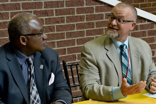 Niskayuna school Superintendent Cosimo Tangorra, pictured with SUNY Schenectady President Steady H. Moono in this Gazette file photo, is defending his school district's equity and inclusion policy.
